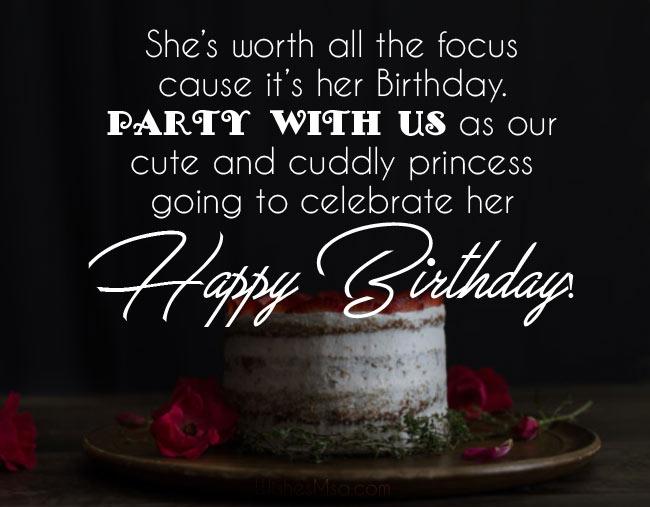 birthday invitation message and wording