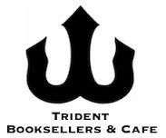 """A trident logo with the words """"Trident Booksellers & Cafe"""" underneath"""