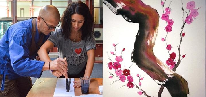 Al Festival Scirarindi 16 attraverso l'arte della pittura Sumi-E andiamo alla scoperta dello Zen con i monaci del Dojo Bodai