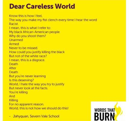 We mark #WorldPoetryDay with this piece from Severn Vale School student Jahyqua...
