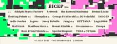 "Image may contain: text that says ""BICEP live Adelphi Music Factory Artwork the Blessed Madonna Floating Points live Floorplan Josey Rebelle India Jordan Jaguar Mall Grab Donna Leake George FitzGerald dj& DJ Seinfeld Jungle Maribou State dj Ross From Friends IMOGEN Mount Kimbie KETTAMA Special Request Logic1000 Overmonolive Prospa TSHA O"