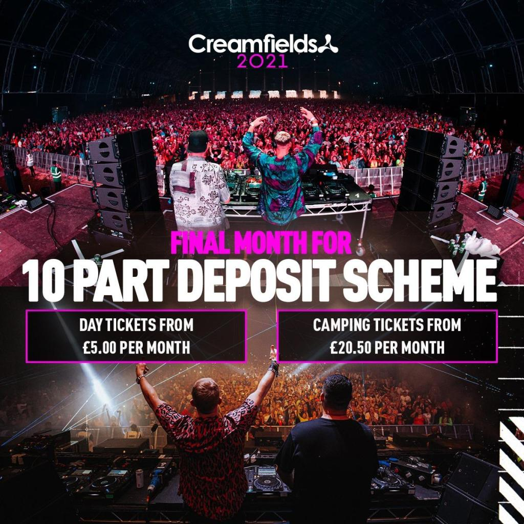 Final month for 10 Part deposit scheme! Day tickets from £5 per month, camping t...