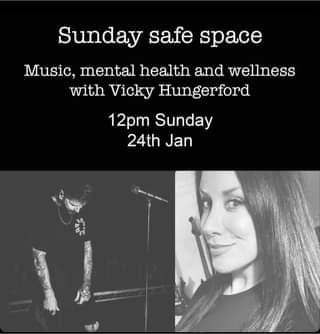 """Image may contain: 1 person, playing a musical instrument, text that says """"Sunday safe space Music, mental health and wellness with Vicky Hungerford 12pm Sunday 24th Jan"""""""