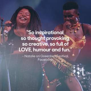 """May be an image of 1 person and text that says """"""""So inspirational, so thought provoking so creative, so full of LOVE, humour and fun."""" -Natalie on GreenbeltFestival, Facebook"""""""