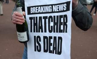 """May be an image of outdoors and text that says """"BREAKING NEWS THATCHER 5 ESTEL 1 ISDEAD"""""""
