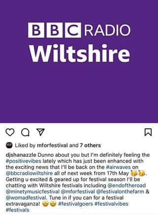 """May be an image of text that says """"Ð BC RADIO Wiltshire Liked by mforfestival and 7 others djshanazzle Dunno about you but I'm definitely feeling the #positivevibes lately which has just been enhanced with the exciting news that I'll be back on the #airwaves on @bbcradiowiltshire all of next week from 17th May Getting u excited & geared up for festival season I'll be chatting with Wiltshire festivals including @endoftheroad @minetymusicfestival @mforfestival @festivalonthefarm & @womadfestival. Tune in if you can for a festival extravaganza! #festivalgoers #festivalvibes #festivals"""""""