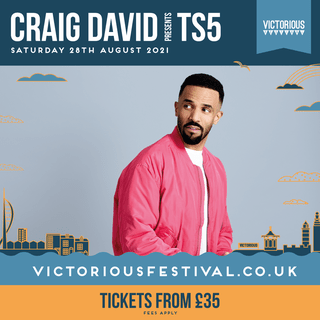 """May be an image of 1 person and text that says """"CRAIG DAVID RESESM TS5 SATURDAY 28TH AUGUST 2021 VICTORIOUS DAAAA٧ 用 VICTORIOUS VICTORIOUSFESTIVAL.CO TICKETS FROM £35 FEES APPLY"""""""