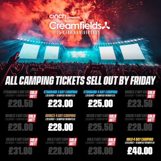 Final chance to secure a camping ticket to #cinchxCreamfields2022...