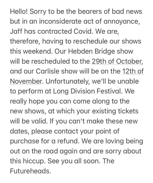 Unfortunately The Futureheads have had to pull out of Long Division this Saturda...