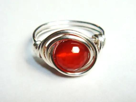 Red Carnelian Gemstone Ring Sterling Silver Spirals
