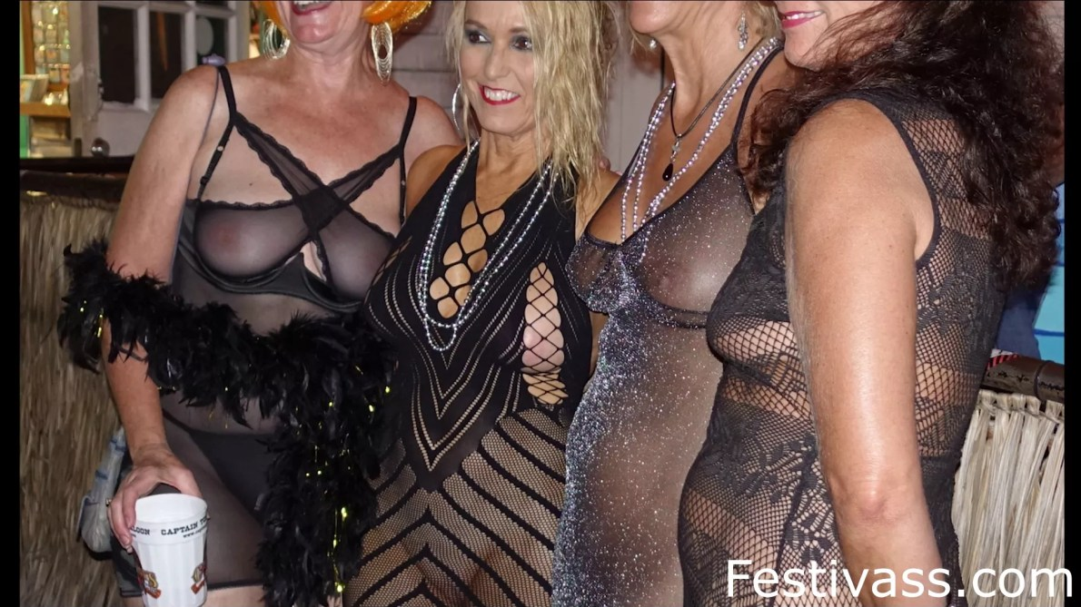 Sexy Ladies In See Thru Dress