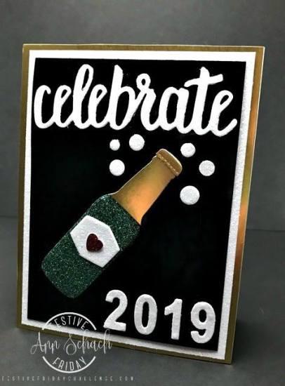 Festive Friday Challenge designer-Ann Schach, Stampin Up, New Year's, #FF0023