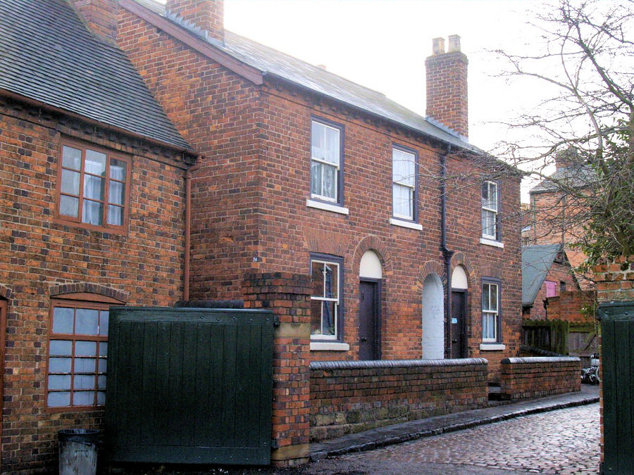 Back-to-back houses, originally built in Woodsetton near Dudley, now re-built at the Black Country Living Museum