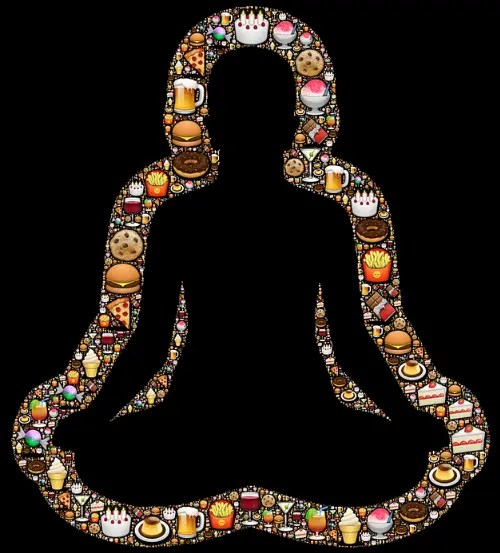 A person in Buddha pose surrounded by unhealthy and unsustainable junk food. Sustainable food promotes health.