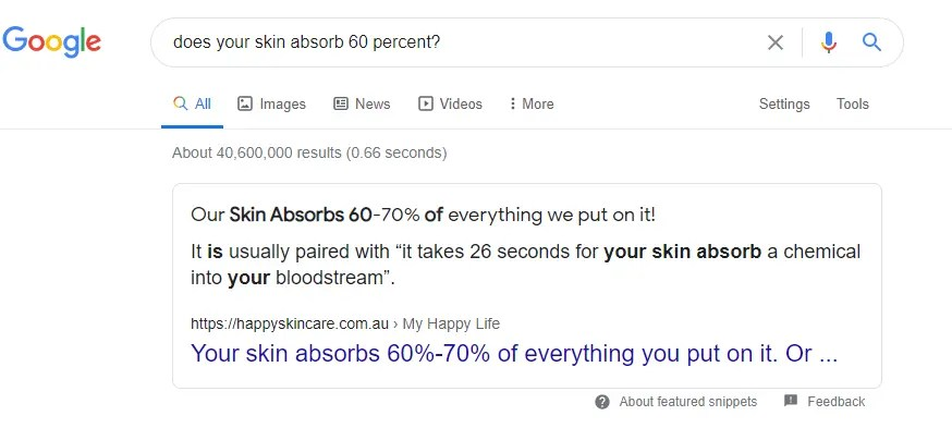 """A snippet showing a search result for the question """"does your skin abosrb 60 percent?"""""""