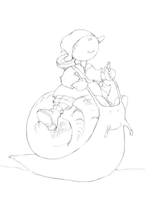 Bottine chevauche l'escargot