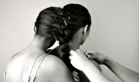 The Twinship Braid by Amber Nicholle. Feven (left) is wearing Forever silver dress, Helena (right) is wearing H&M black dress.