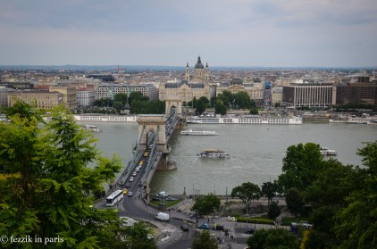 The actual view from the top of the Hill; that's the Széchenyi Chain Bridge in the center.
