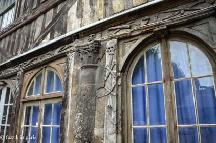 Aître Saint-Maclou. Now the courtyard of the fine arts school, it was originally a 14th century plague cemetery.