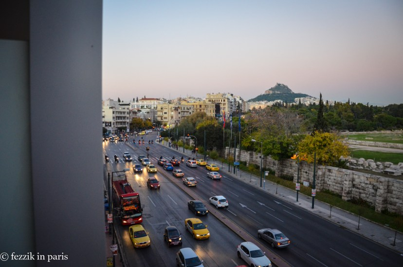 Late evening traffic as seen from our hotel balcony. The Temple of Olympian Zeus is just out of frame.