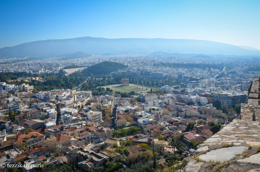 The Temple of Olympian Zeus, as seen from the Acropolis.