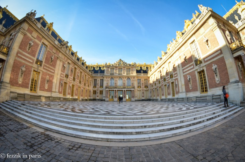A fisheye view of the front of the palace.