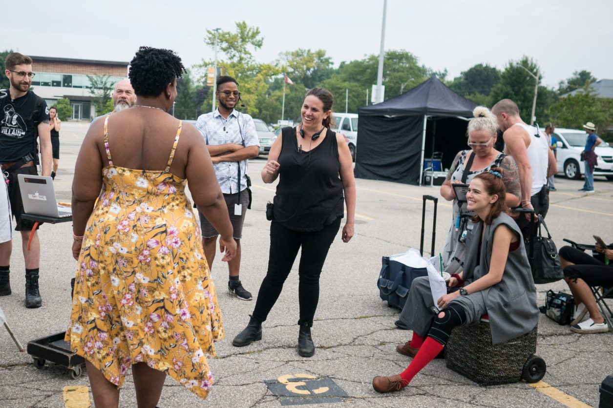 Director Tanya Wexler on the set of Buffaloed.