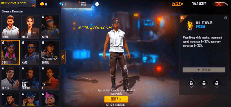 Free Fire D BEE Character OB 28 Update