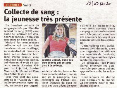 Vosges : «Collecte de sang : la jeunesse très présente»