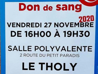 Vosges : Venez offrir votre sang au Tholy (88530) le vendredi 27 novembre 2020