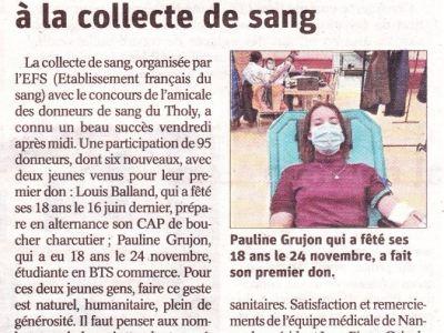 Vosges : «Les donneurs mobilisés à la collecte de sang»