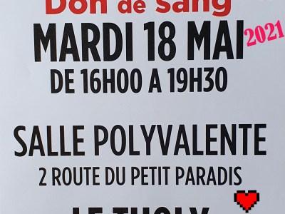 Le Tholy : OFFREZ VOTRE SANG MARDI 18 MAI 2021 AU THOLY ENTRE 16H ET 19H30