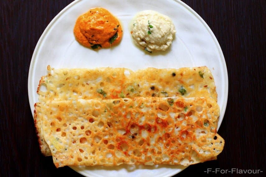 rava dosa served with sambar and chutney