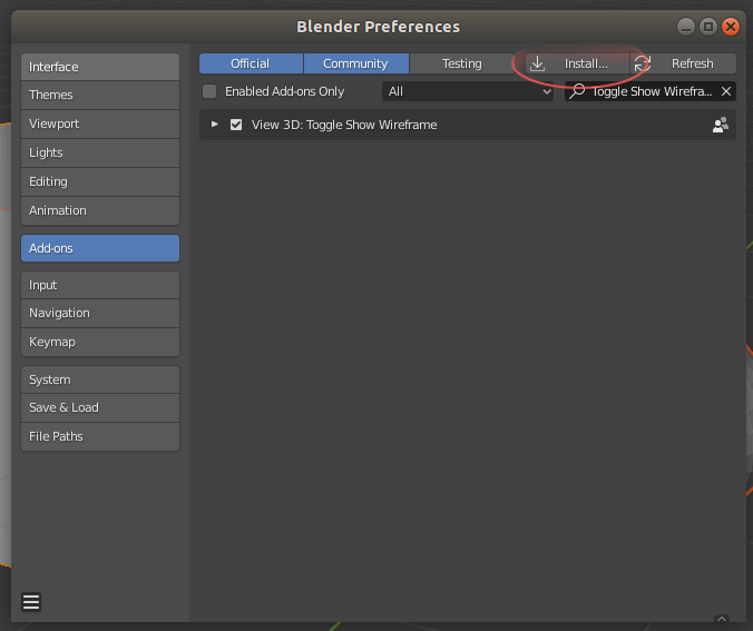 "Image showing the location of the ""Install..."" button within the Blender Preferences"