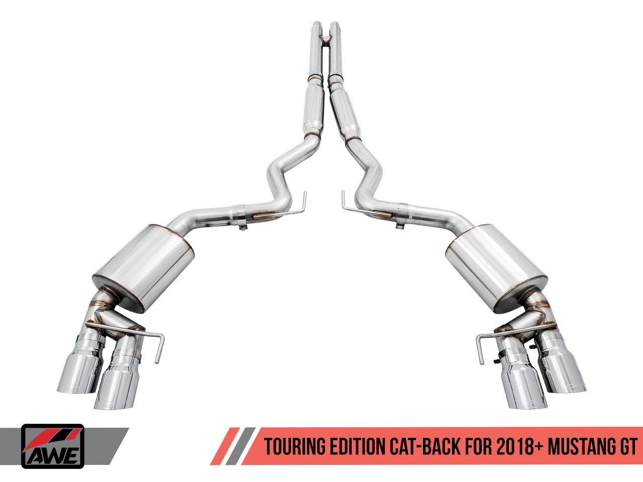 awe 2018 2020 ford mustang gt touring edition cat back exhaust
