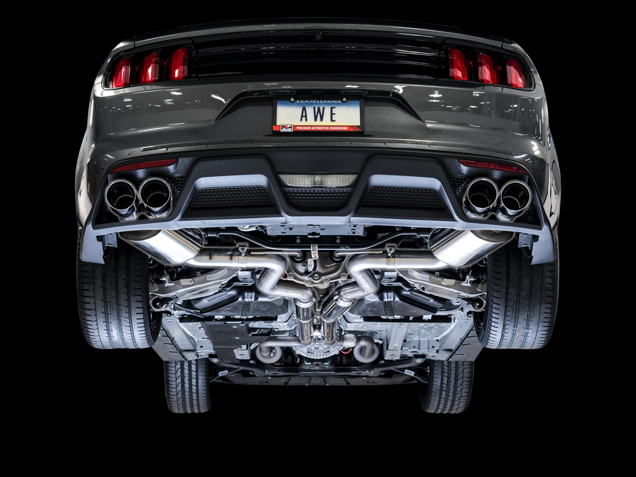 awe 2015 2017 ford mustang gt touring edition cat back exhaust quad tip