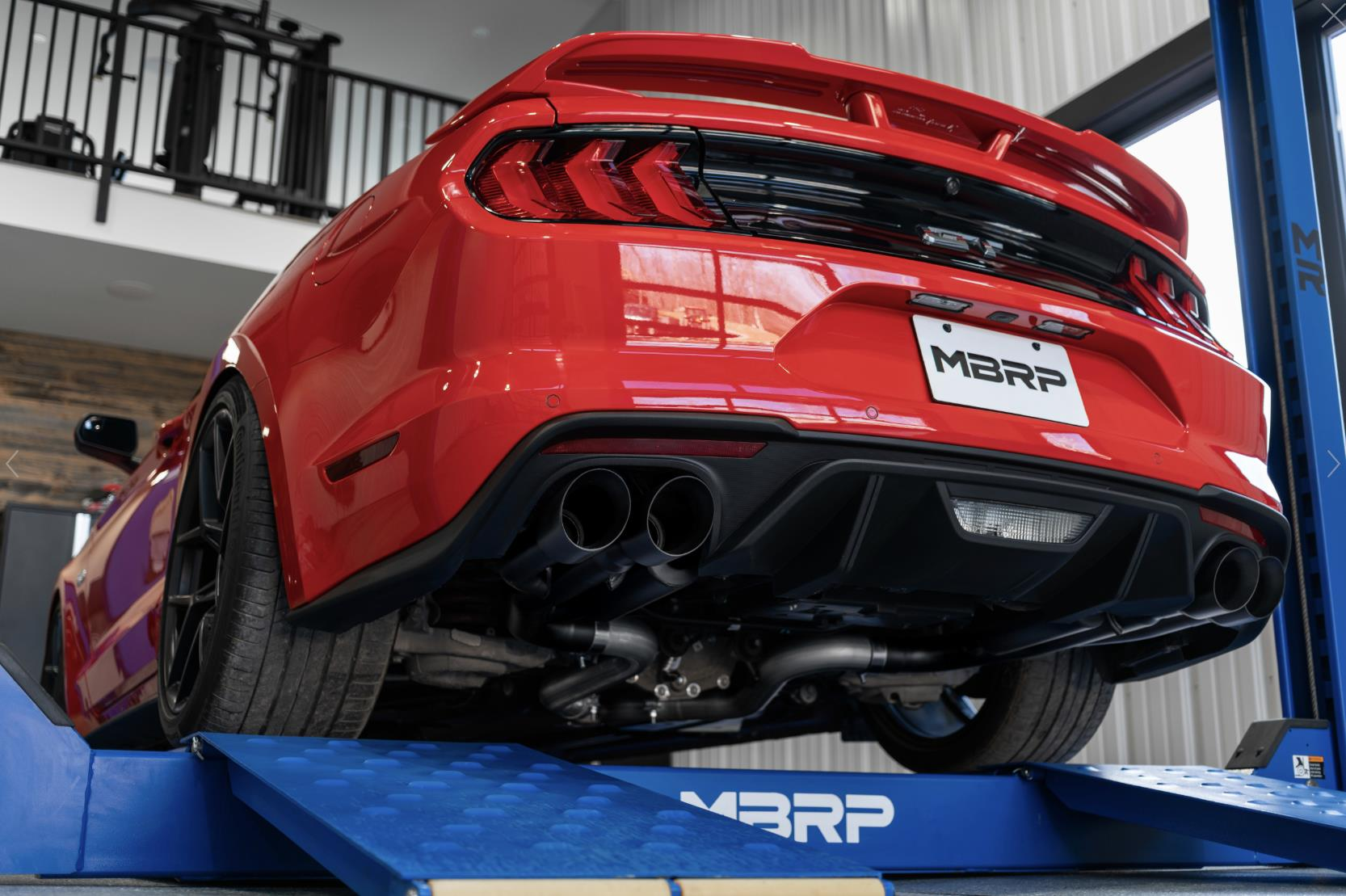 mbrp 2018 2021 ford mustang gt 3 cat back aluminized dual quad split rear exit exhaust with 4 dual wall tips black series