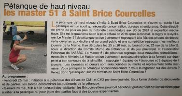 L'article présentant les Masters et le Pétanque Tour dans le journal local de Saint Brice Courcelles