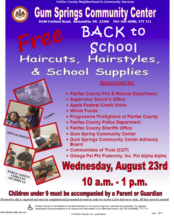 Free Back To School Event Haircuts School Supplies Aug