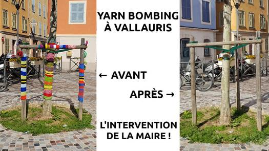 Avant, après intervention du maire, pklus de yarn bombing à Vallauris