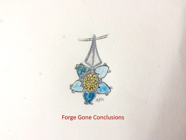Blue Topaz Heart-Flower Necklace that has 3 different color blues in it. Made out of sterling silver and 14K yellow gold.