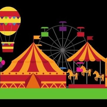 Picture of a fairgrounds with rides and tents and a balloon for Gems of the Fair