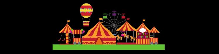 Picture of a fairground with tents and rides for the article Gems of the Fair