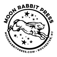 Logo of Moon Rabbit Press - A Rabbit that has stars around it - moonrabbitpress.com  Rochester, NY . In honor of the artisans summit - Moon Rabbit Press