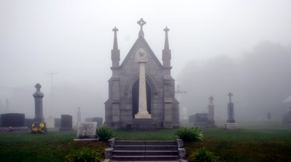 Graveyard, foggy morning