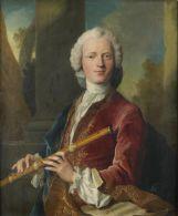 Flûte traversière : introduite dans l'orchestre au 17ème siècle par Lully, elle fut employée comme instrument solo au 18ème siècle, en particulier par Vivaldi (concertos) et JS Bach (sonates) - (Portrait de gentilhomme jouant de la flûte traversière, Henri Millot; ? - ? 1756).