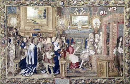 Audience accordée par le Roi au Cardinal Chigi, légat du pape à Fontainebleau le 29 juillet 1664 », d'après le carton de Saint‑André 1665‑1680