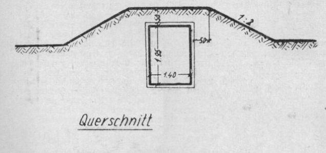 Querschnitt gemäß den Bestimmung für den Bau von LS.-Deckungsgraben März 1943.