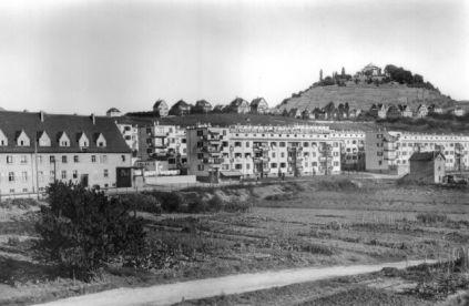 Die Wallmer-Siedlung (II) nach der Fertigstellung ca. 1932. Links im BIld ein Gebäude der 1926 fertiggestellten Siedlung Wallmer I.