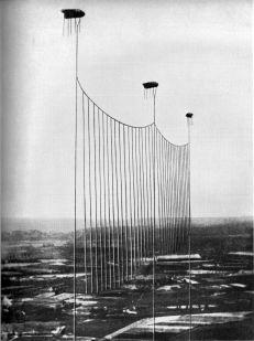 Von Ballonen getragene Seilsperre gegen Tiefflieger. In Oberndorf konnten die Seile im Tal gespannt werden, so dass keine Ballone benötigt wurden.
